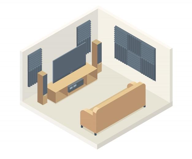 Paneles de espuma acústica cine en casa isométrico