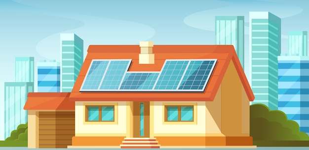 Paneles solares, energías alternativas, en techo de casa particular.
