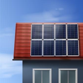 Paneles solares portátiles vectoriales aislados en casa de techo de tejas con cielo nublado