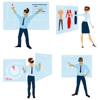 Paneles táctiles para juego de caracteres de negocios