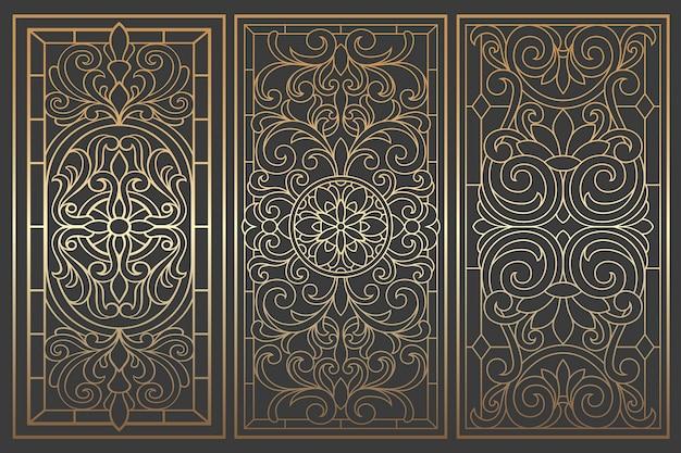 Paneles de techo vidriera. resumen remolinos adornados, composición simétrica, vidrieras. patrón de mosaico