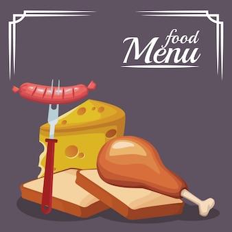 Panes con muslo de pollo y queso
