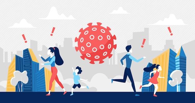 Pánico social por la crisis del coronavirus, concepto de riesgo