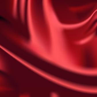 Paño abstracto de fondo de cortinas de tela de seda ondulada roja