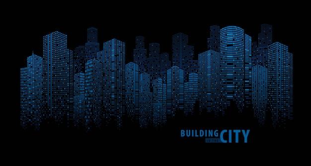 Pano edificio abstracto azul