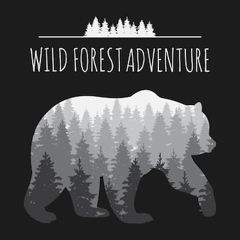 Panorama del bosque vintage en silueta de oso