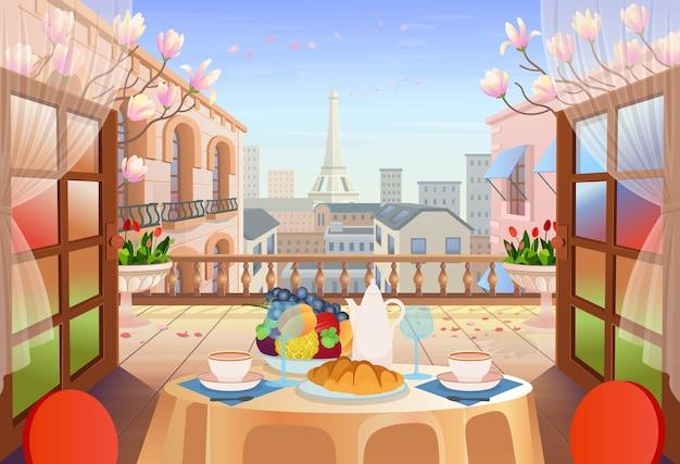 Panorama de la calle de parís con puertas abiertas, mesa con sillas, casas antiguas, torre y flores. salida a la terraza con vista a la ciudad, ilustración de la calle de la ciudad.