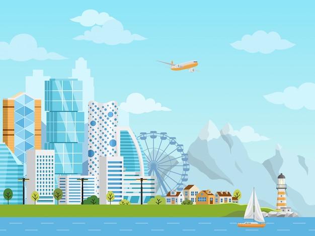 Panorama del centro de la ciudad y suburbio