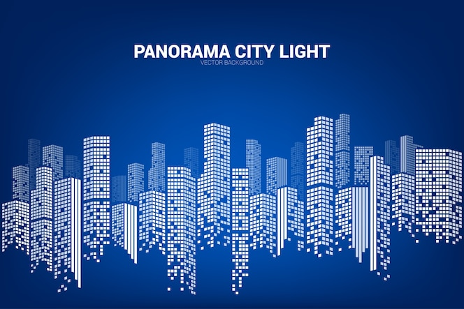 Panorama city fondo de construcción con forma de píxeles de windows