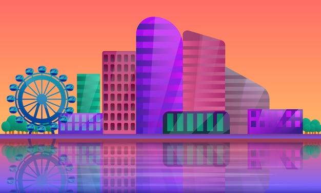 Panorama de la ciudad al amanecer, ilustración vectorial