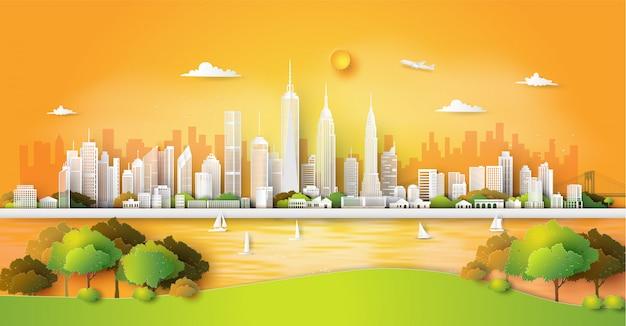 Panorama de la ciudad horizonte