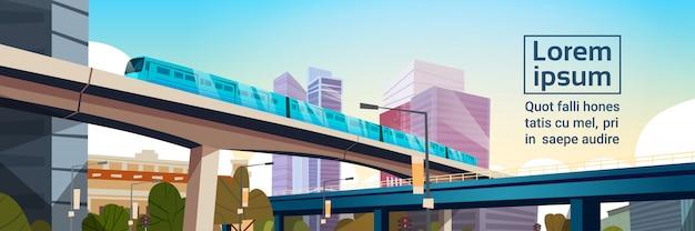 Panorama de la ciudad moderna con alto rascacielos y ilustración de plantilla de paisaje urbano de metro horizontal