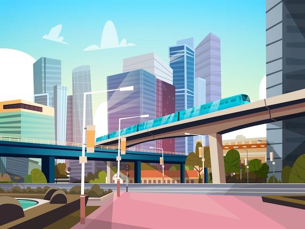 Panorama de la ciudad moderna con rascacielos de alta y la ilustración de paisaje urbano de metro