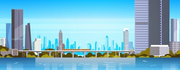 Panorama de la ciudad moderna con rascacielos y metro ilustración urbana