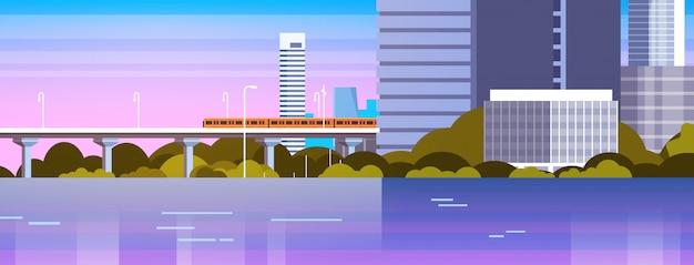 Panorama de la ciudad moderna con rascacielos urbanos e ilustración de paisaje urbano de metro