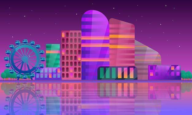 Panorama de la ciudad en la noche, ilustración vectorial