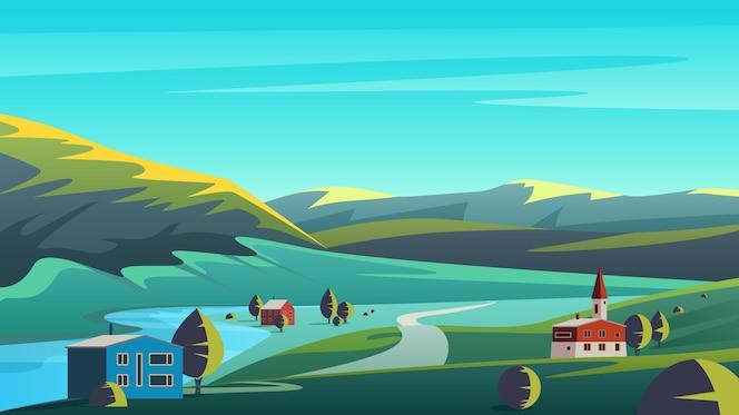 Panorama colorido paisaje ecológico con un pequeño pueblo situado en tierras de un valle remoto con montañas y cielo azul.