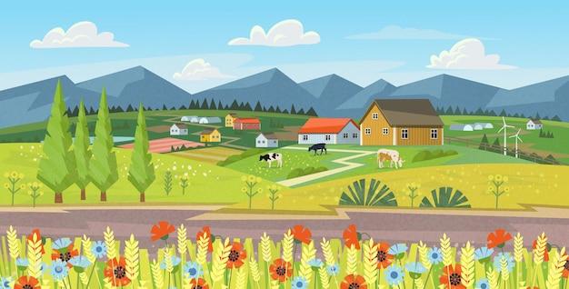 Panorama de la granja con campos, flores, pasto y vacas.