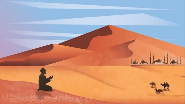 Panorama del hombre musulmán rezar en el desierto.