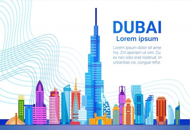 Panorama del horizonte de dubai, viajes de negocios del paisaje urbano del edificio moderno y concepto del turismo