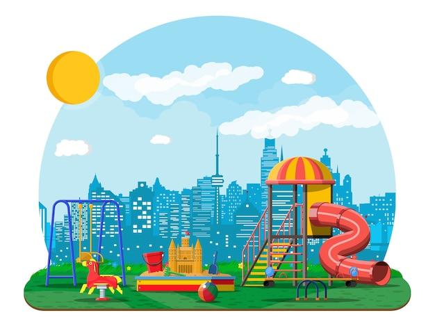 Panorama de jardín de infantes de juegos para niños. diversión infantil urbana.