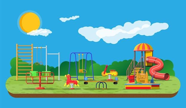 Panorama de jardín de infantes de juegos para niños.