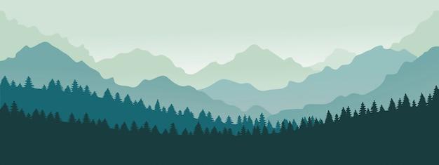 Panorama de las montañas. paisaje de la cordillera del bosque, montañas azules n crepúsculo, ilustración de silueta de paisaje de naturaleza de camping. paisaje de rango forestal, colina de silueta panorámica