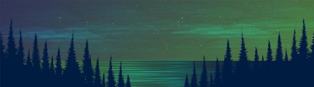 Panorama night river en el bosque de pinos, fondo de paisaje, diseño de concepto frío y brumoso.