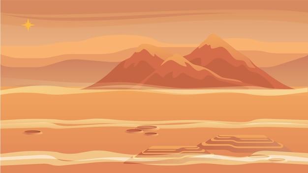 Panorama panorama de la montaña de la superficie del planeta rojo.