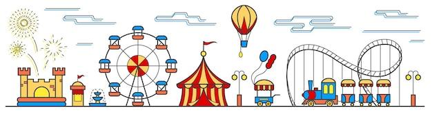 Panorama de un parque de atracciones con una noria, paseos en circo, carro de comida en un castillo hinchable en globo