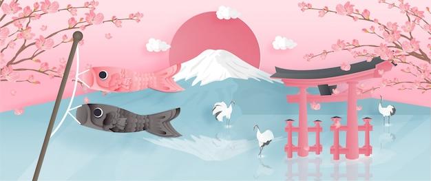 Panorama de postal de viaje, cartel de monumentos famosos de japón con la montaña fuji