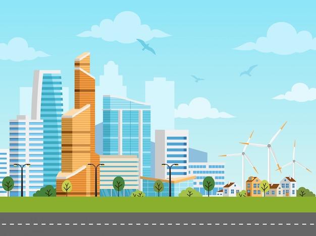 Panorama de vector de ciudad inteligente y suburbio