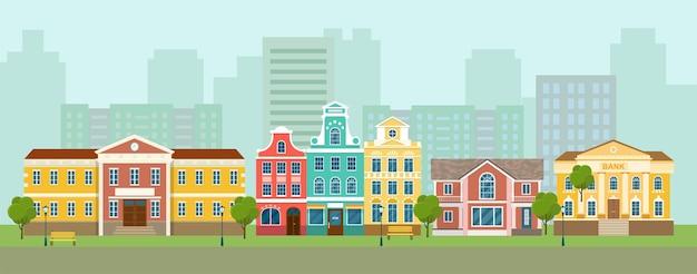 Panorámica de las calles de la ciudad. edificios de la vida de la ciudad. ilustración de estilo plano de vector.