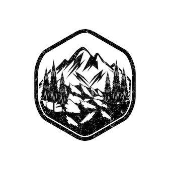 Panorma del logo vintage de montaña