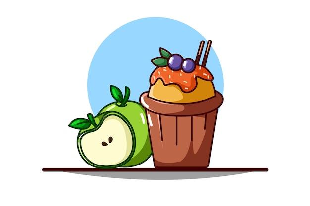 Panqueques y frutas de manzana