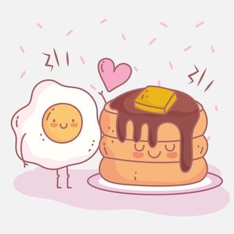 Panqueques mantequilla jarabe y huevo frito menú restaurante comida lindo