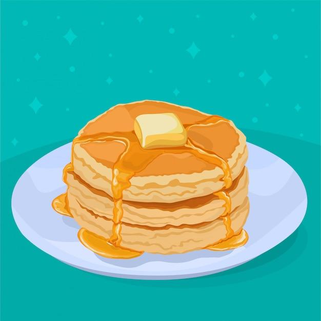 Panqueques con miel y mantequilla