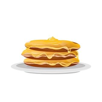 Panqueques con miel, postre en ilustración realista de plato blanco