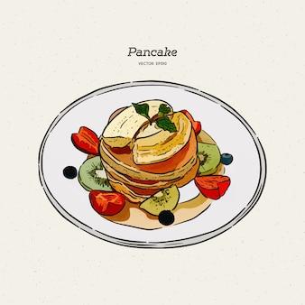 Panqueques, pasteles, dulces, sabroso desayuno