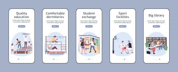 Pantalla de la aplicación de estilo de vida de los estudiantes
