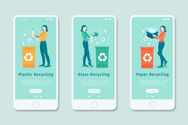 Pantalla de aplicación de incorporación para reciclaje