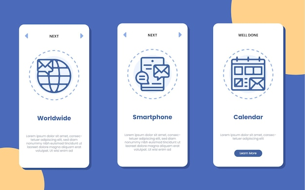 Pantalla de la aplicación de incorporación con teléfono inteligente en todo el mundo y la ilustración del icono de calendario