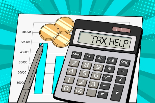 Pantalla de arte pop de la calculadora con texto de ayuda fiscal