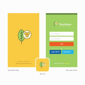 Pantalla de bienvenida de la hoja de la empresa y página de inicio de sesión con plantilla de logotipo. plantilla de negocios en línea móvil