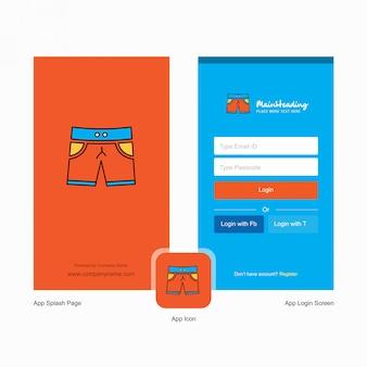 Pantalla de bienvenida de shorts de la empresa y página de inicio de sesión con plantilla de logotipo. plantilla de negocios en línea móvil