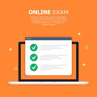 La pantalla blanca del examen en línea en la computadora se muestra en naranja