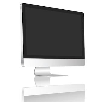 La pantalla en blanco de escritorio realista fijó en aislante de 45 grados en el fondo blanco.