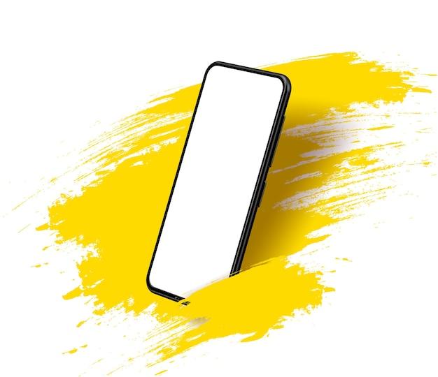 Pantalla en blanco sin marco de teléfono inteligente, posición girada. teléfono celular de ilustración isométrica 3d. vista en perspectiva de smartphone.