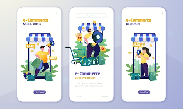 Pantalla a bordo con ilustración del concepto de promoción de comercio electrónico