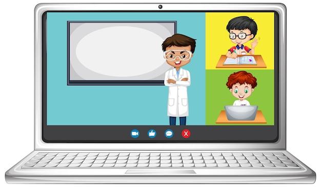 Pantalla de chat de video en línea del estudiante en la computadora portátil sobre fondo blanco